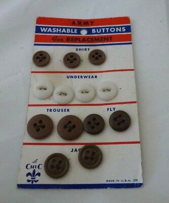 Vintage ARMY Washable Uniform Buttons for Replacement on Original Card
