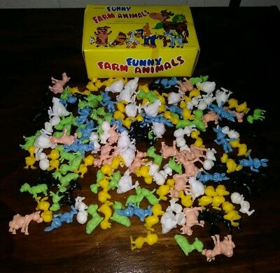 "Over 130 Funny Farm Animals vtg plastic pvc toy lot set box 1""-2"" Rabbit duck ko"