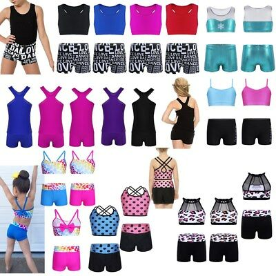 Girls Dance Outfit Ballet Gymnastics Crop Top+Shorts Swimsuit Sports Dancewear