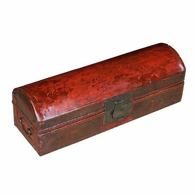 Antique Red Leather Box with Gold Painting (24-042A)