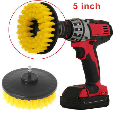 5Inch Drill Brush For Car Carpet Wall And Tile Cleaning Yellow Medium Duty STOCK