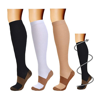 (3 Pairs) Copper Infused Compression Socks 20-30mmHg Graduated Mens Womens S-XXL
