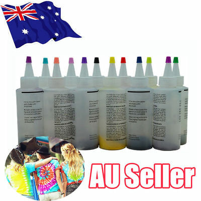 12 Colour Bottle Tie Dye Kit + 40 Rubber Band + 4 Pairs Vinyl Gloves DIY Kit UEE