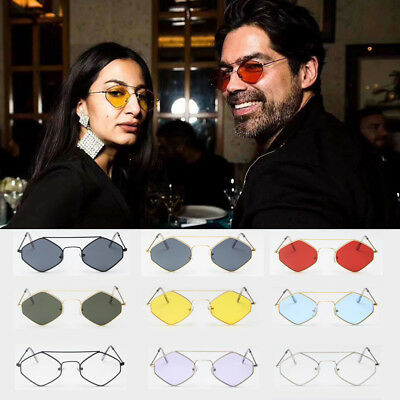 Vintage Retro Hexagon Sunglasses Mirrored Metal Frame Glasses for Men Women Hot