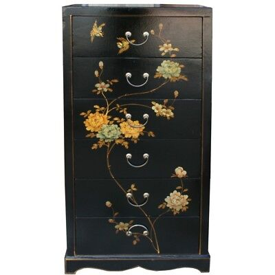 Chinese Chest of 5 Drawers Black Flora Painted (TB-5B)