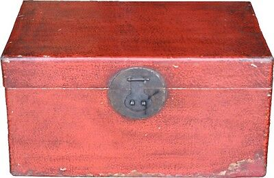 Original Chinese Antique Red Leather Box Great Condition (31-055)