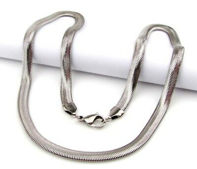 Women Men silver 316L Stainless Steel Soft Snake Chain Necklace 6mm Width 24""