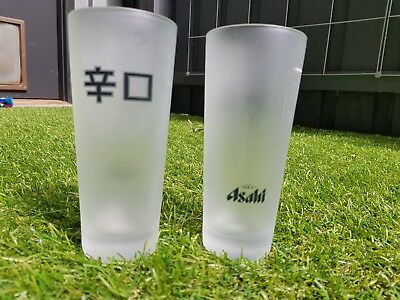 6 x ASAHI JAPANESE BEER GLASS   330ML FROSTED GLASSES *RARE