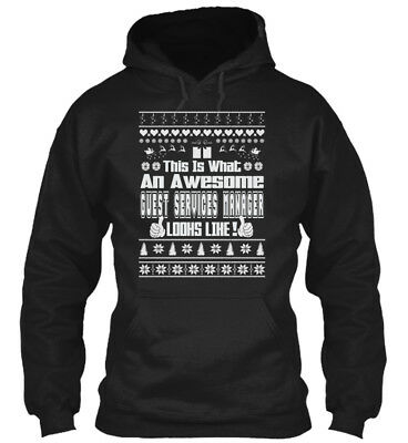 Awesome Guest Services Manager Ugly Christmas S - This Gildan Hoodie Sweatshirt