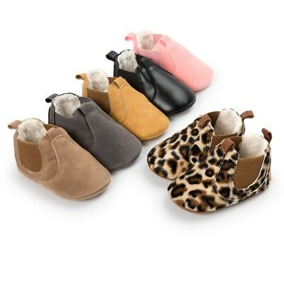 UK Infant Baby Kids Winter Warm Leather Soft Sole Crib Shoes Boots Booties 0-18M