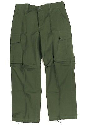 1969 Vietnam Jungle Rip-stop Combat Trousers US ARMY OG 107 Med. Short #A18