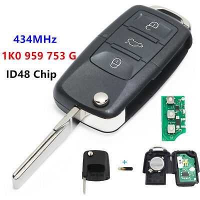 3Button 1K0 959 753 G   Folding Remote Key 434MHz ID48 for VW Golf 2004 - 2009