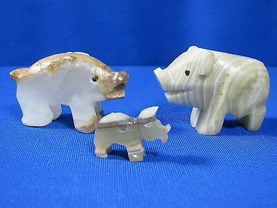 Three Hand Carved Stone / Marble / Onyx Pigs