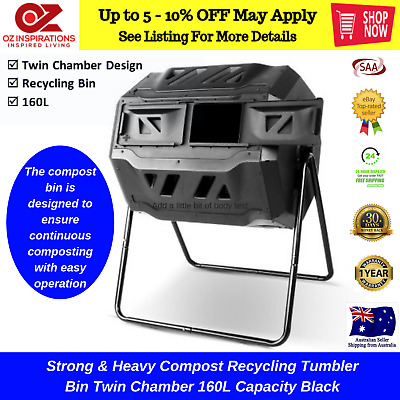 Strong & Heavy Compost Recycling Tumbler Bin Twin Chamber 160L Capacity Black