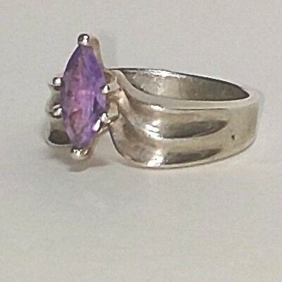 Vintage Semi Precious Amethyst Solitaire Ring Silver Plated Costume Ring