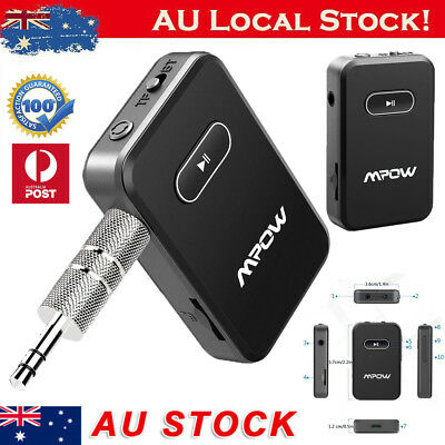 MPOW Wireless Bluetooth 3.5mm Car Aux Audio Stereo Music Receiver Adapter w/ Mic