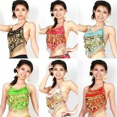Handmade Sexy Coins Bra Belly Dance Dancing Bra Top Dco Gold Coins 10 Color HOT