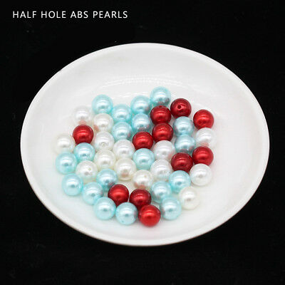 6-12mm Color Round Half Drilled Hole Pearl beads earring pendant jewelry Making