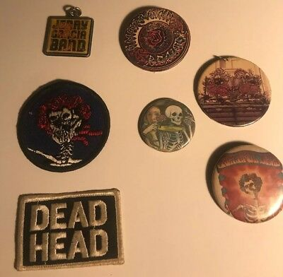 RARE grateful dead Button Pins 2 Patches And Key Chain Vintage