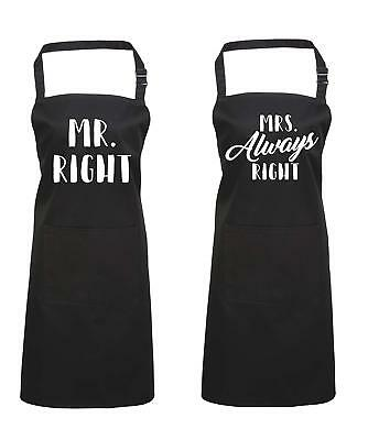 Edward Sinclair Mr. Right & Mrs. Always Right Set Valentines Gift, Cooking Apron