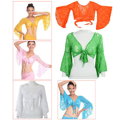1X(Sexy Belly Dance Dancing Lace Blouse Top Bra Dancewear Costumes Yellow P6N7)