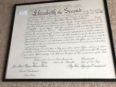 Queen Elizabeth II Hand Signed Autograph Warrant Document 1958