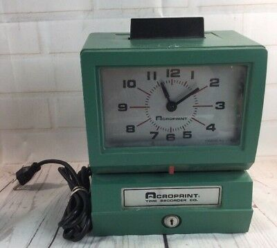 Acroprint Punch Date Time Recorder Electric Clock 25NR4 Tmeclock - No Key