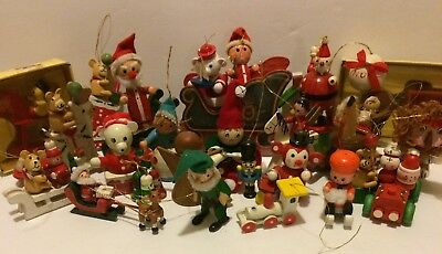 Vintage Lot of 33 Wooden Christmas Ornaments Sleigh Elf Santa Toy Solider Angel