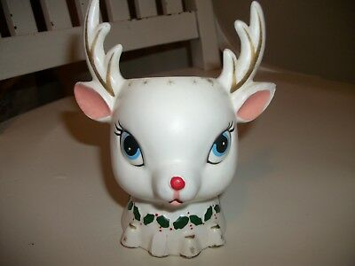 Vintage 1962 Napco White Sweet Reindeer Planter Pot As Is mid Holiday Holder