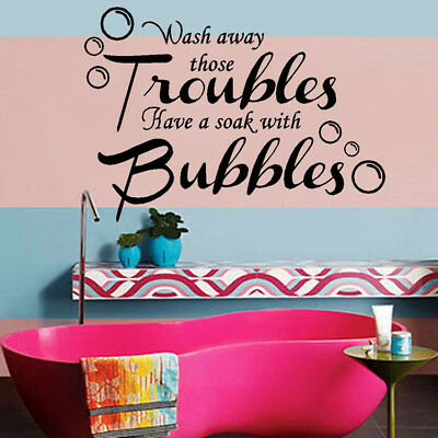 Troubles Bubbles Quote Art Wall Stickers Bathroom Decals Home Decor Removable UK