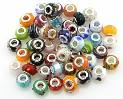 20pcs Random Mixed Big Hole(5mm) Loose European Beads Fit for DIY  Jewelry Charm