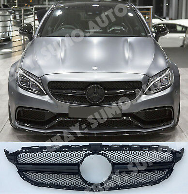 Mercedes C,w205/c205/s205 grille,GLOSS BLACK,ONE FIN,AMG C63s night package look