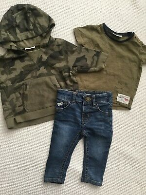 Next, River Island Baby Boys 3-6 Months Outfit, Bundle Jeans, Camouflage Hoodie