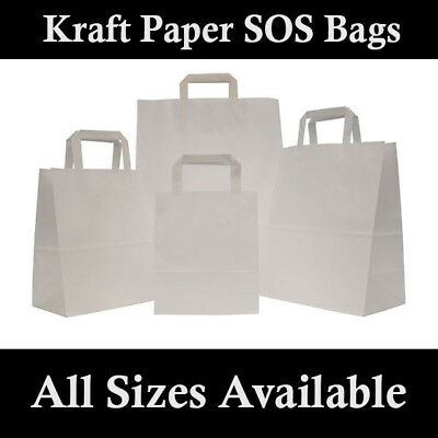 Kraft Paper SOS Carrier Bags White with Flat Handles / Takeaway / Gift
