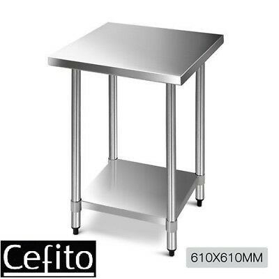Cefito 610x610mm Commercial 430 Stainless Steel Kitchen Bench Food Prep Table