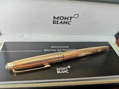 New-MONTBLANC-SOLITAIRE VERMEIL PINSTRIPE GOLD ROLLERBALL PEN NEW IN BOX 164VP