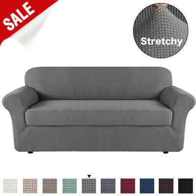 2-Piece Form Fit Jacquard Stretch Sofa Cover 1/2/3 Seater Couch Cover Slip Cover