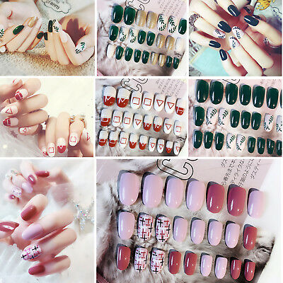 24 PCS Press-on Pre Design False Nail Tips With Adhesive Sticker - 12 Styles