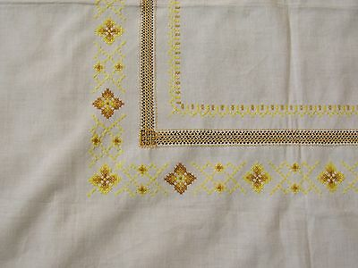 Linen Tablecloth Vintage Embroidered Square Yellow Flowers / Art Decor