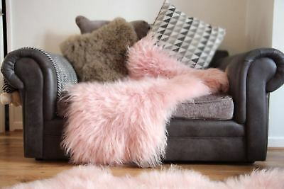 Genuine Icelandic Pink sheepskin rug Long haired 10cm Super Soft And Shiny