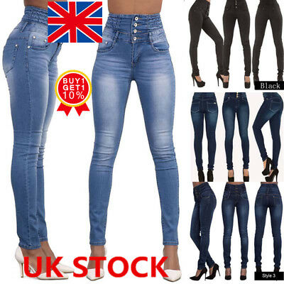 UK Womens Stretch Denim Jeans Skinny Jeggings High Waist Long Pants Trousers