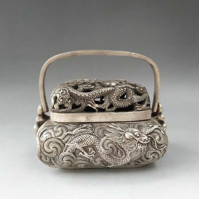 Rare Tibetan Silver Copper Pure Hand-Carved Dragon Design Incense Burner