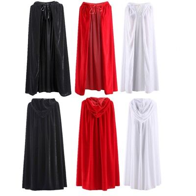 Costume Witch Velvet Cloak Adult Hooded Cape Wedding Robe Black Red White