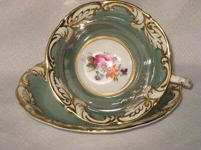 Paragon China Cup Saucer Gold Foliage Gray Hand Painted Flowers Roses Pansies