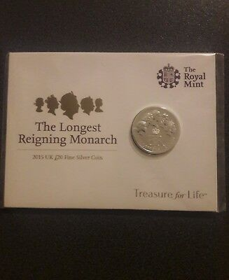 GB 2015 Royal Mint The Longest Reigning Monarch £20 Fine Silver Coin