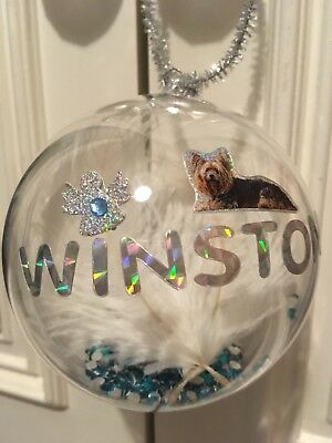 Large Memorial Filled Pet Baubles Dog Or Cat. 100mm Size