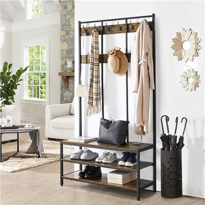 Entry Hall Tree Bench Vintage Coat Rack With Hooks Entryway Shoe