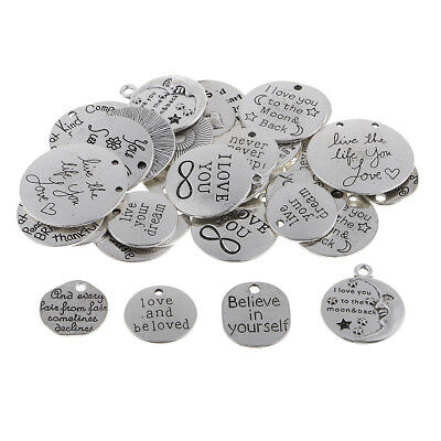 34pcs Vintage Encourage Words Charms Pendants For Jewelry Making Necklaces