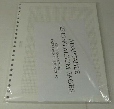 Stamp album pages extra leaves size: W240 x H280mm x 50 for 22 ring binders
