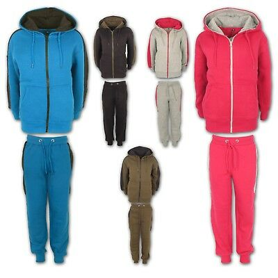 Boys Tracksuit Girls Kids Fleece Hooded Hoodie Bottom Jogging Suit Jogger 7-13Yr